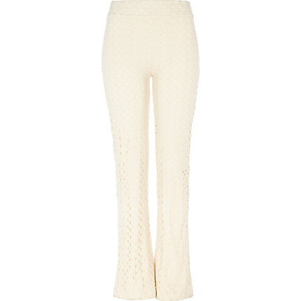 Cream lace trousers