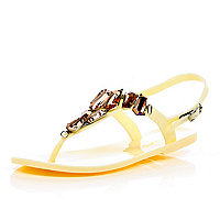 Cream gem jelly sandals