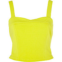 Lime bow back cropped top