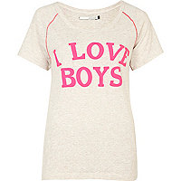 Cream i love boys print t-shirt