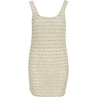 Beige frill bodycon dress