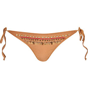 Dark orange embellished bikini bottoms
