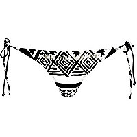Black print embellished bikini brief