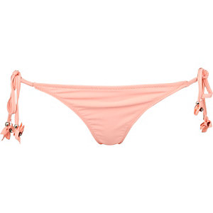 Orange 3D flower side tie bikini bottoms