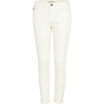 White roll leg skinny trousers
