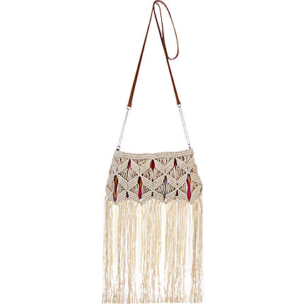 Cream macrame tassel cross body bag