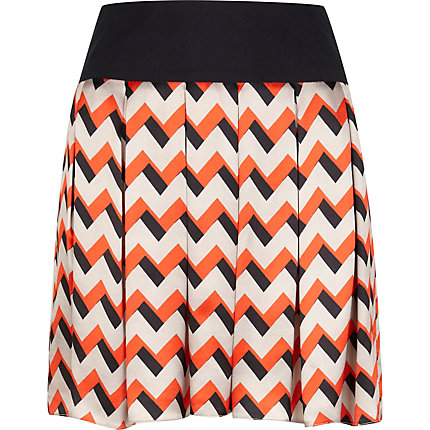 Orange zig zag print julian j smith skirt
