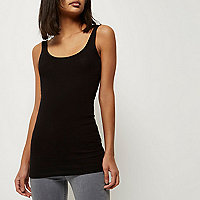 Black scoop neck longline vest