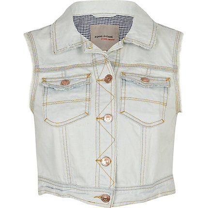 Light wash denim crop waistcoat