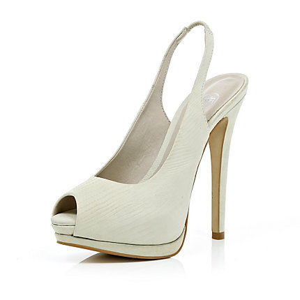 Cream peep toe slingback court shoes