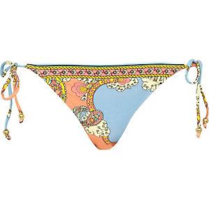 Blue placement scarf print bikini briefs