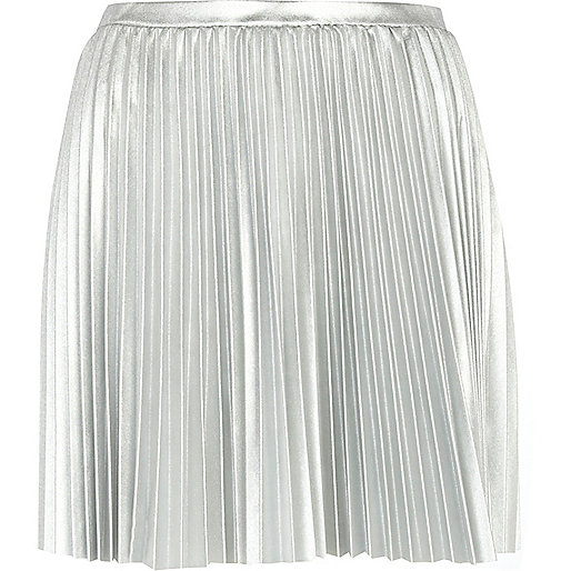 Silver foil pleated mini skirt