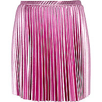 Pink foil pleated mini skirt