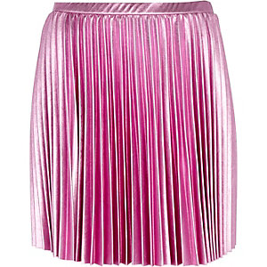 Pink foil pleated mini skirt