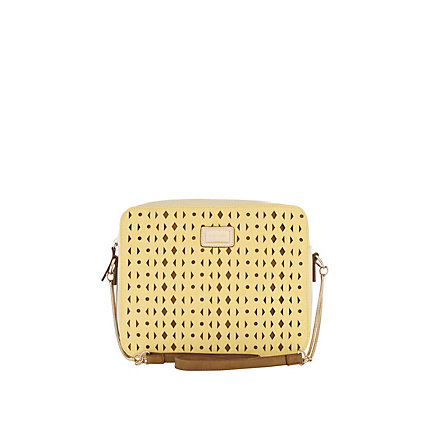 Yellow laser cut out cross body bag