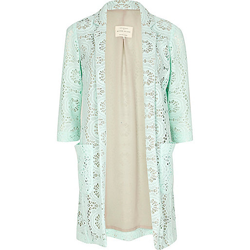 Green 3/4 sleeve lace jacket
