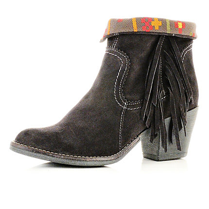Dark grey tassel ankle boots