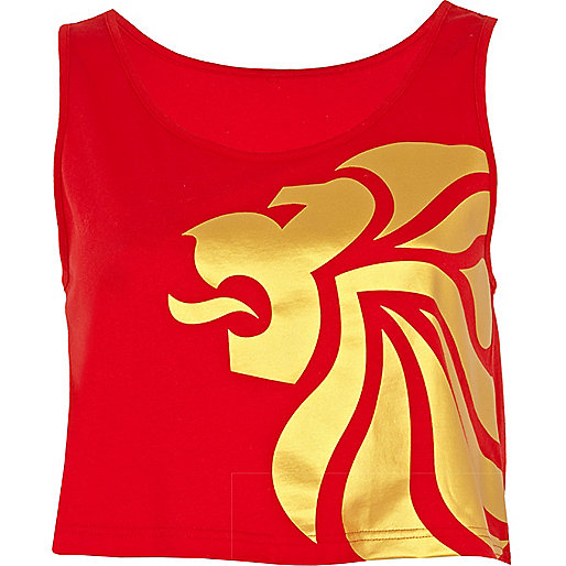 Red team GB print crop tank top