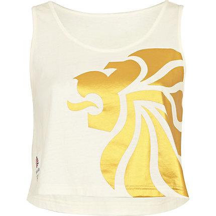 White team GB print crop tank top