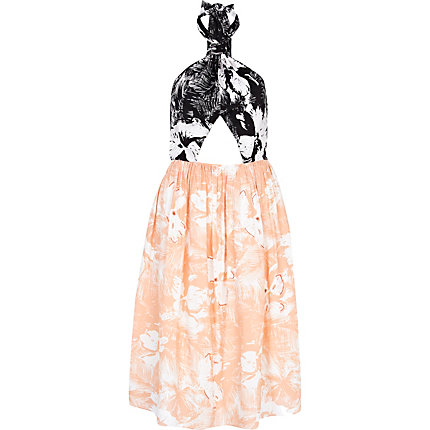 Orange colour block floral print prom dress