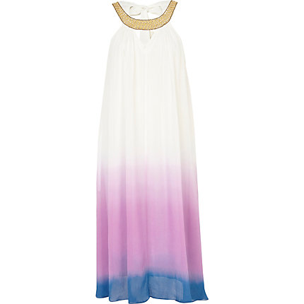Purple ombre embellished trim swing dress