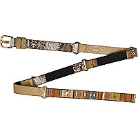 Beige snake skin section skinny jeans belt