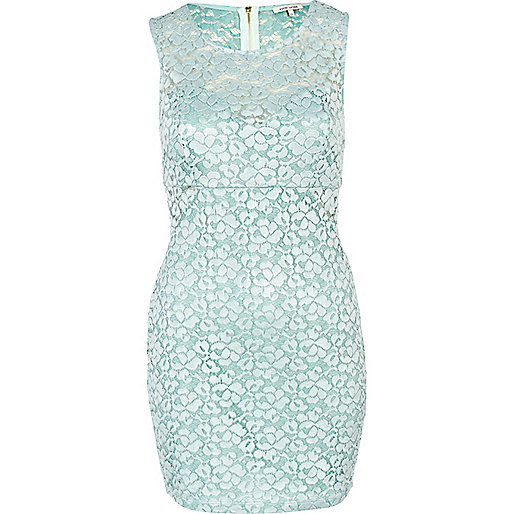 Mint green lace bodycon dress