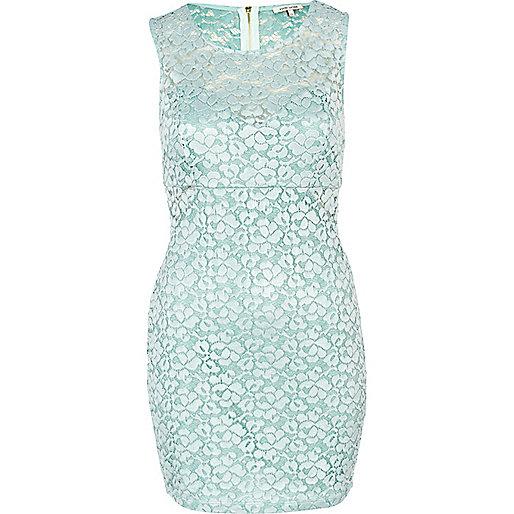 Mint green lace bodycon dress