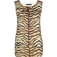 Brown tiger print tank top