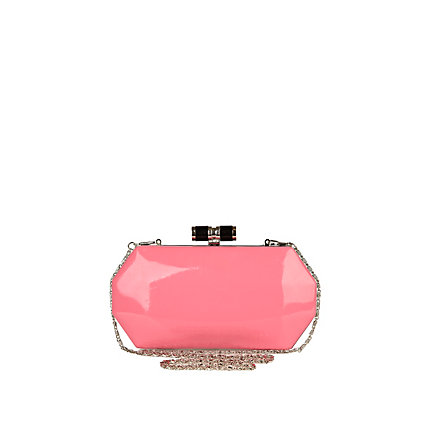 Neon pink box clutch bag