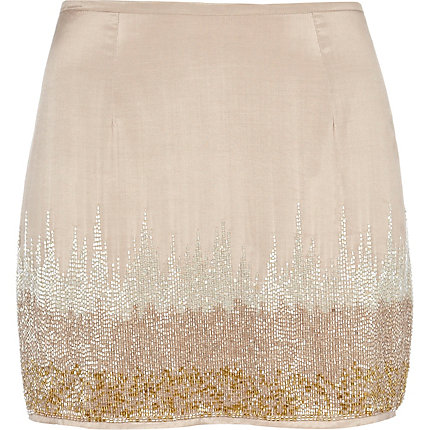 Light pink beaded mini skirt