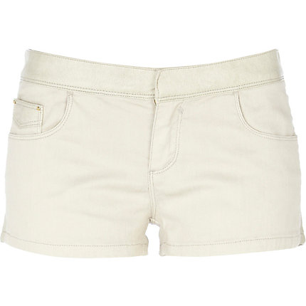 Cream leather look mix shorts