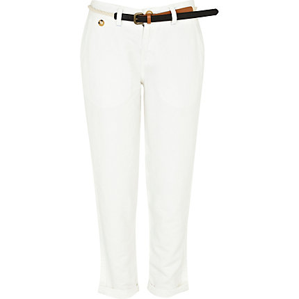 White linen belted trousers