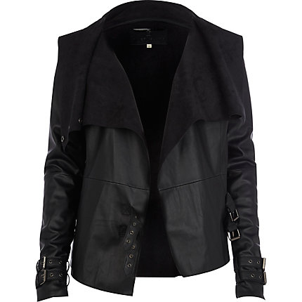 Black leather look waterfall jacket