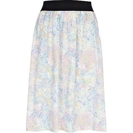 Cream cloud print skirt