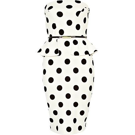 White polka dot bandeau peplum dress