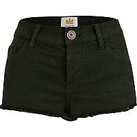 Dark green denim super short hotpants