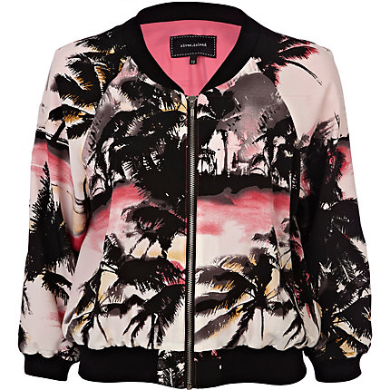 Pink palm tree print bomber jacket