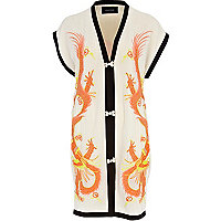 Orange print dragon embroidered print kimono