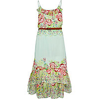 Light green floral print dip hem maxi dress