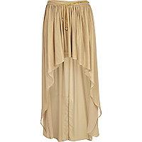 Gold dip hem maxi skirt