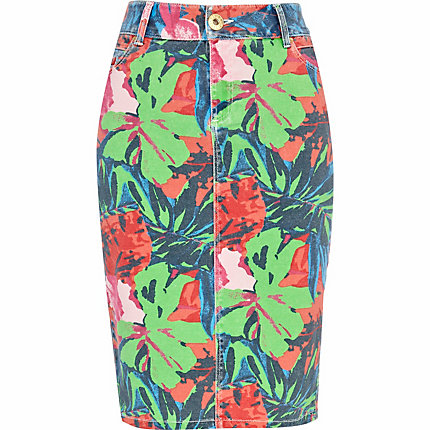 Red tropical print denim pencil skirt