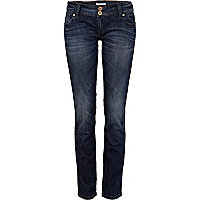 Dark wash distressed Matilda skinny jeans