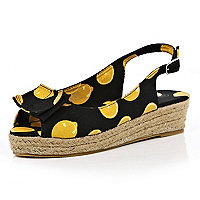 Black fruit print sling back espadrilles