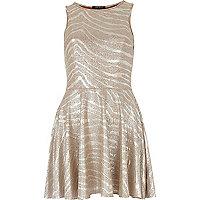 Silver metallic skater dress
