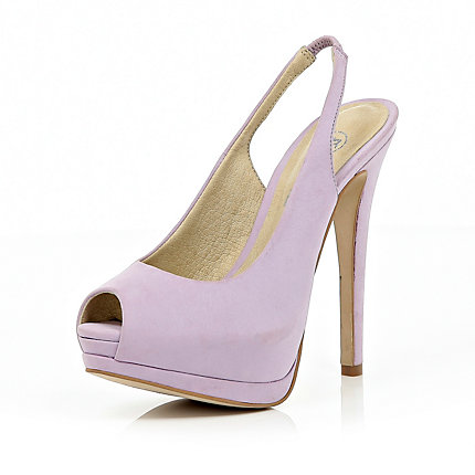 Light purple peep toe slingback court shoes