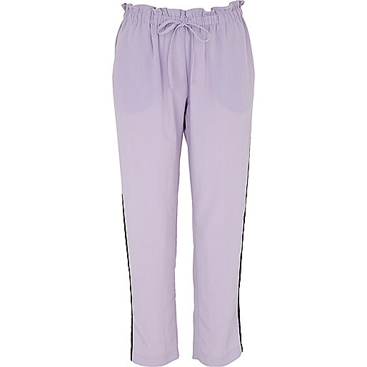 Light purple side panel tapered trousers