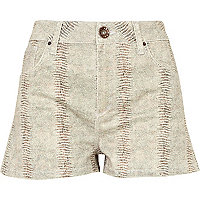 Beige print coated high waisted denim shorts