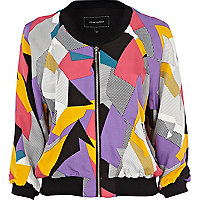 Purple print bomber jacket