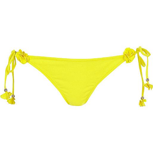 Yellow 3D flower bikini bottoms